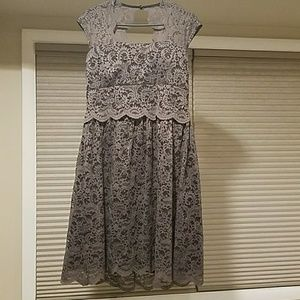 Gray and black lace modcloth / yellow star dress